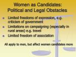 women as candidates political and legal obstacles