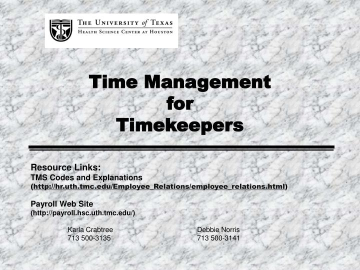 time management for timekeepers n.