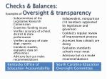 checks balances examples of oversight transparency