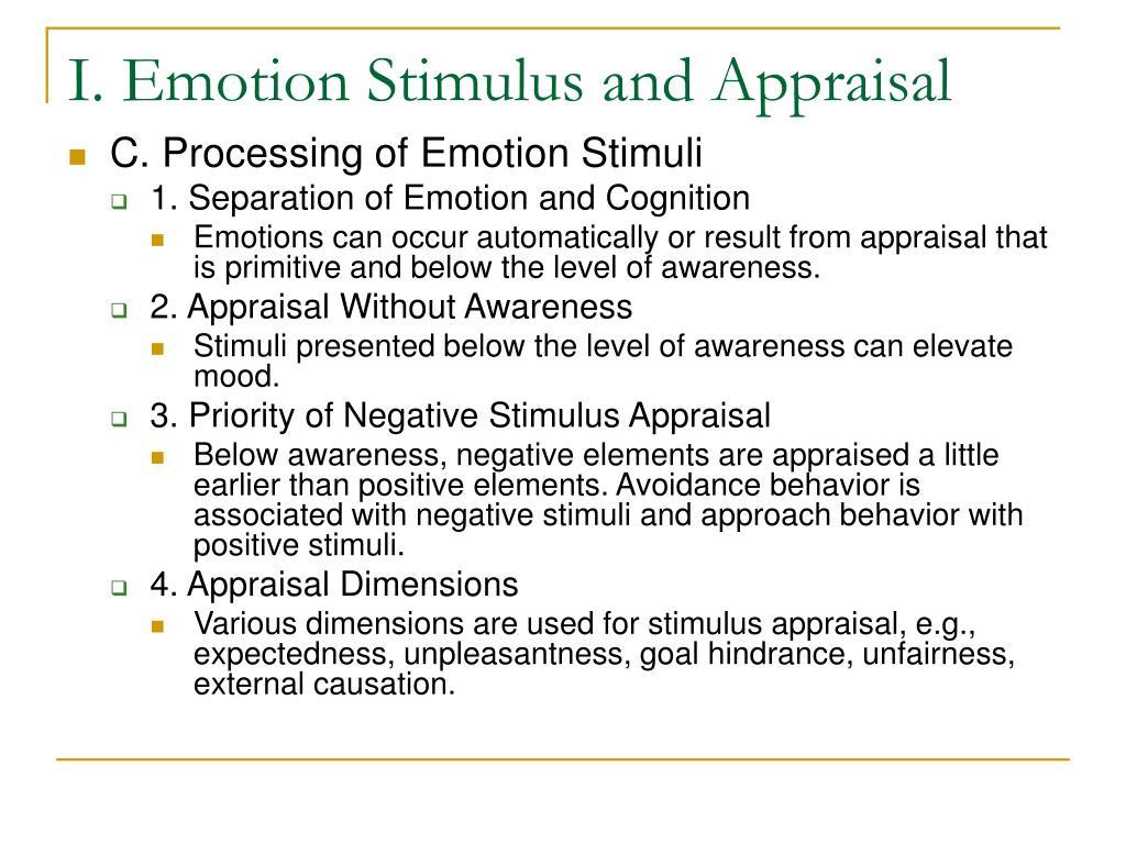 I. Emotion Stimulus and Appraisal