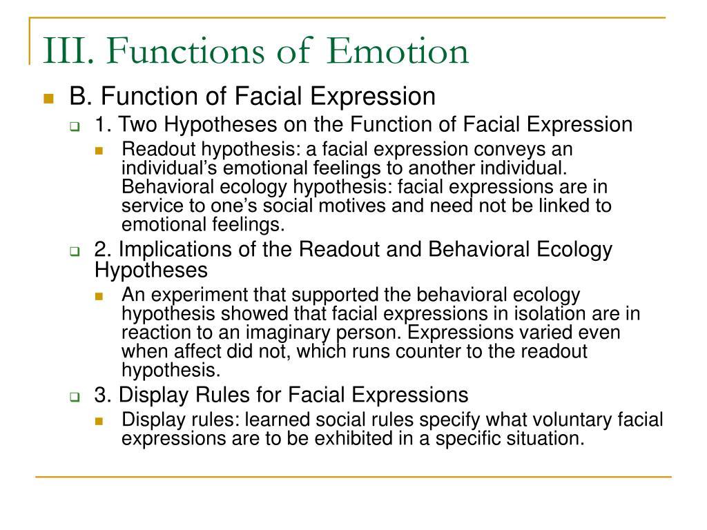 III. Functions of Emotion