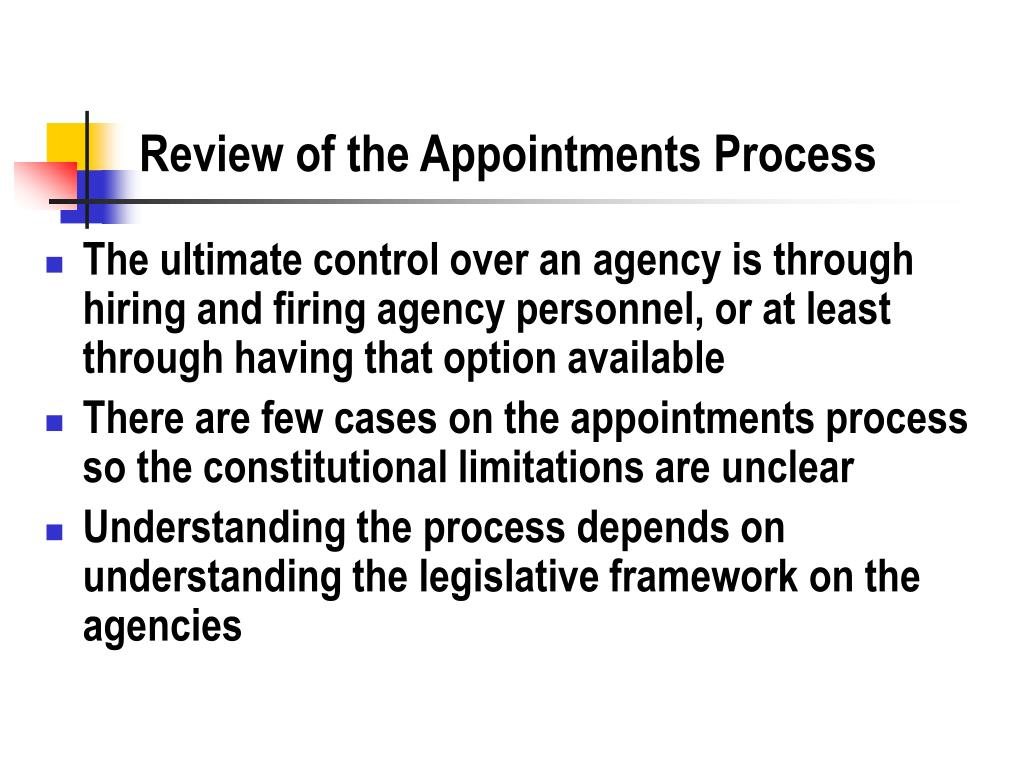review of the appointments process l.