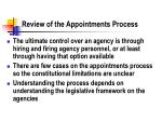 review of the appointments process