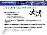 arc c effect on scampi a continued