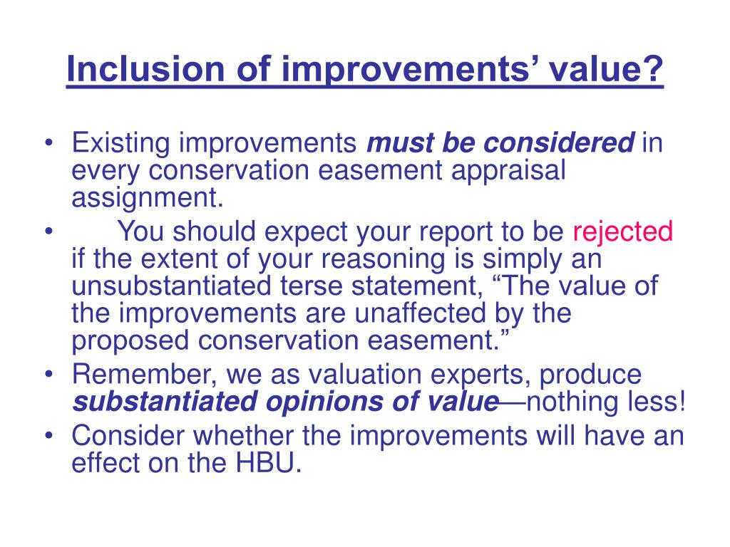 Inclusion of improvements' value?