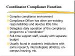 coordinator compliance function