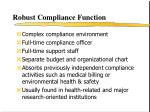 robust compliance function