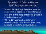 appraisal of gps and other phcteam professionals
