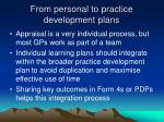 from personal to practice development plans