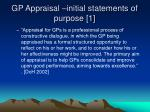 gp appraisal initial statements of purpose 1