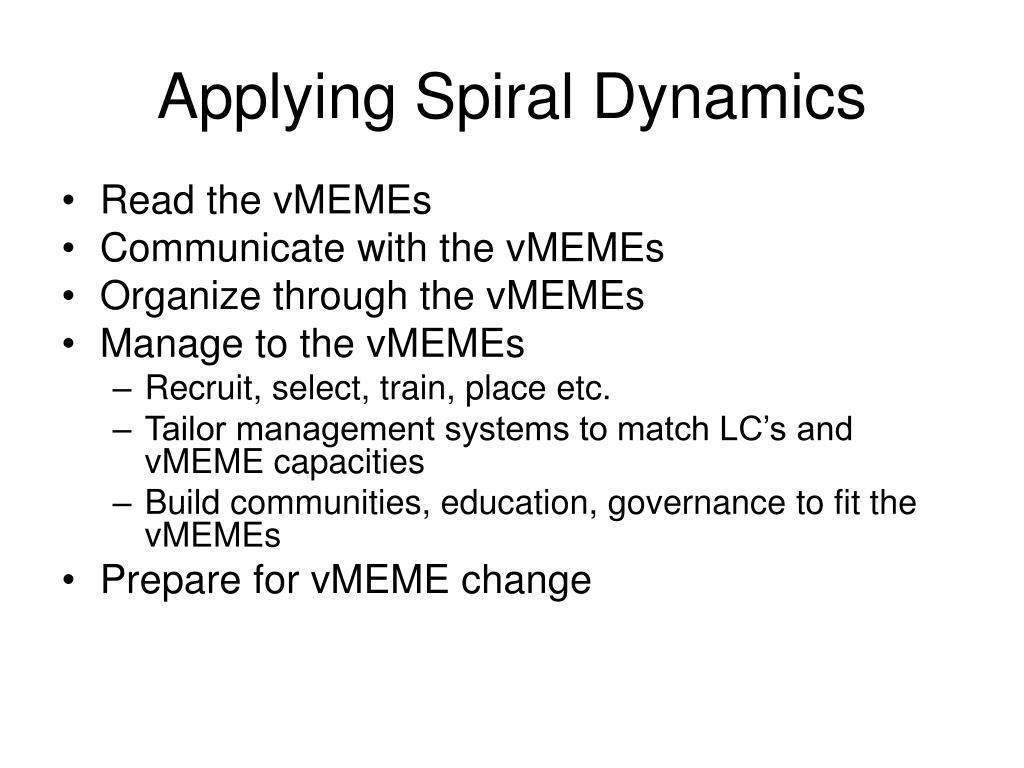 applying spiral dynamics l.