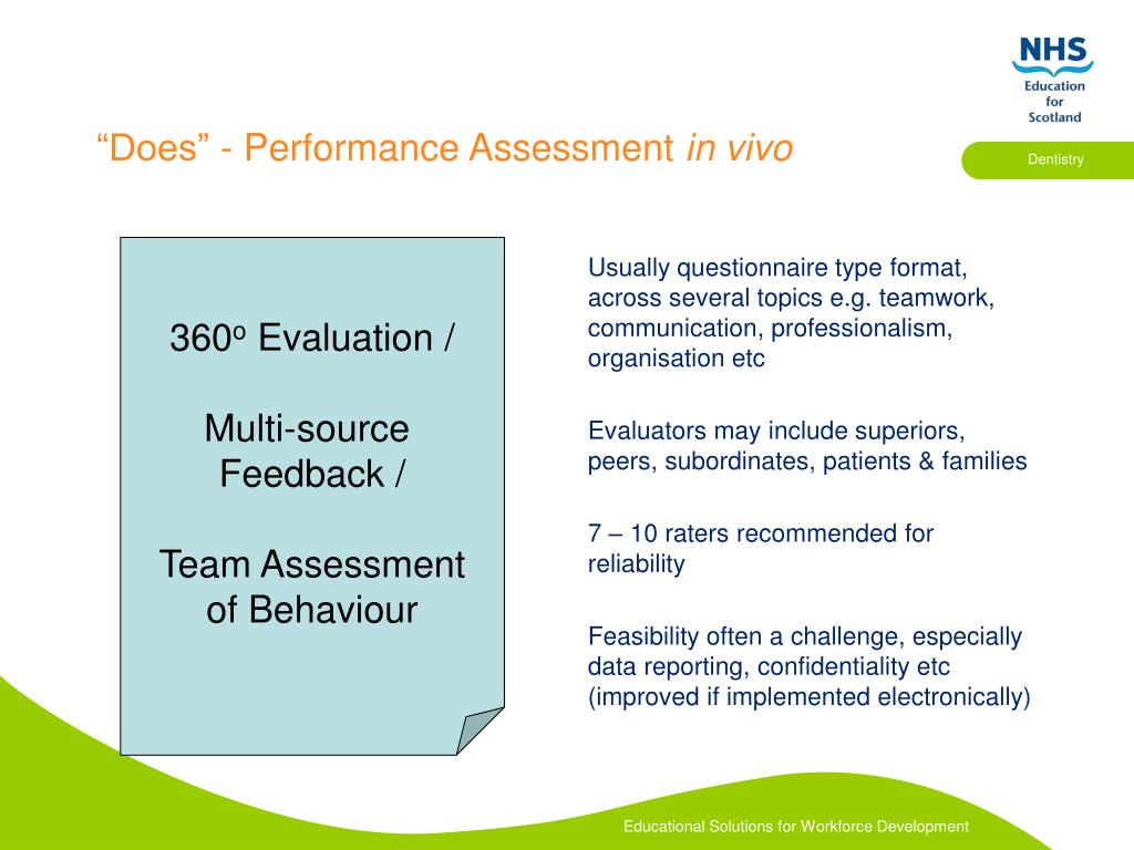 Usually questionnaire type format, across several topics e.g. teamwork, communication, professionalism, organisation etc