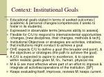 context institutional goals