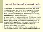 context institutional mission goals