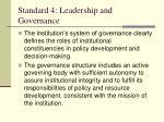 standard 4 leadership and governance