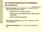 for internal department candidates do s don ts