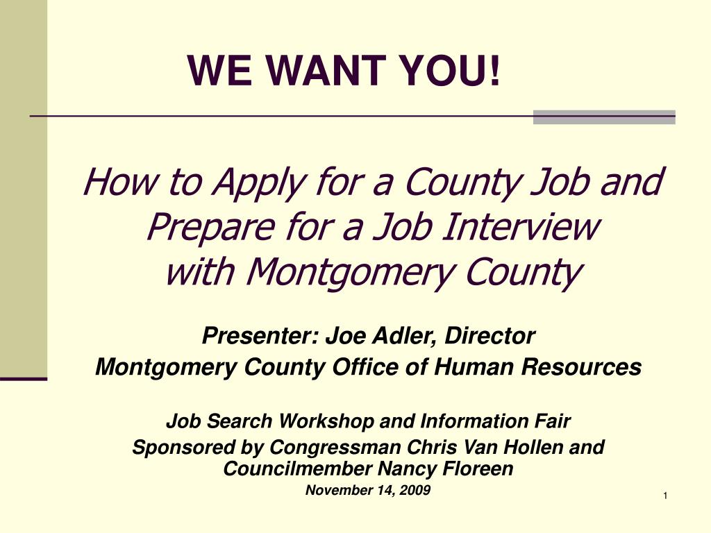 how to apply for a county job and prepare for a job interview with montgomery county l.
