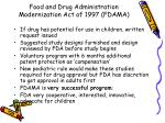 food and drug administration modernization act of 1997 fdama19