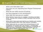 proposal project costs and resources