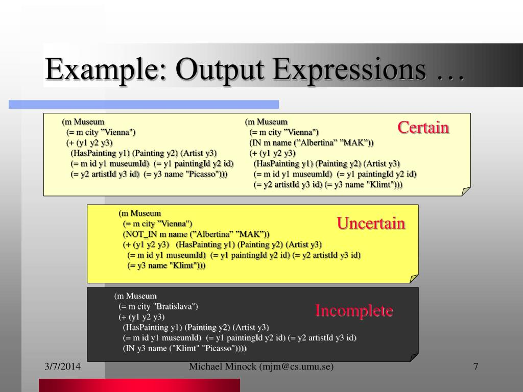Example: Output Expressions …