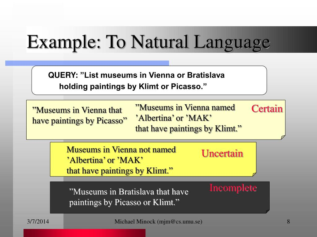 Example: To Natural Language