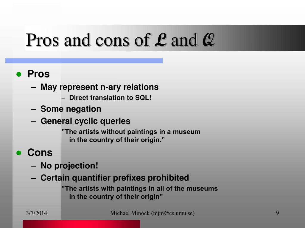 Pros and cons of