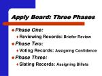 apply board three phases
