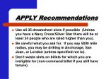 apply recommendations