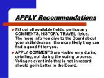 apply recommendations56