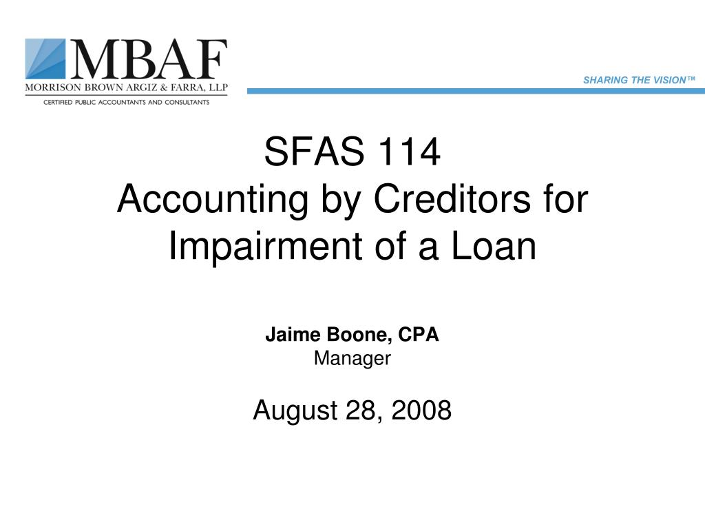 sfas 114 accounting by creditors for impairment of a loan