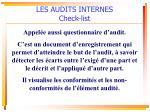 les audits internes check list