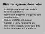 risk management does not