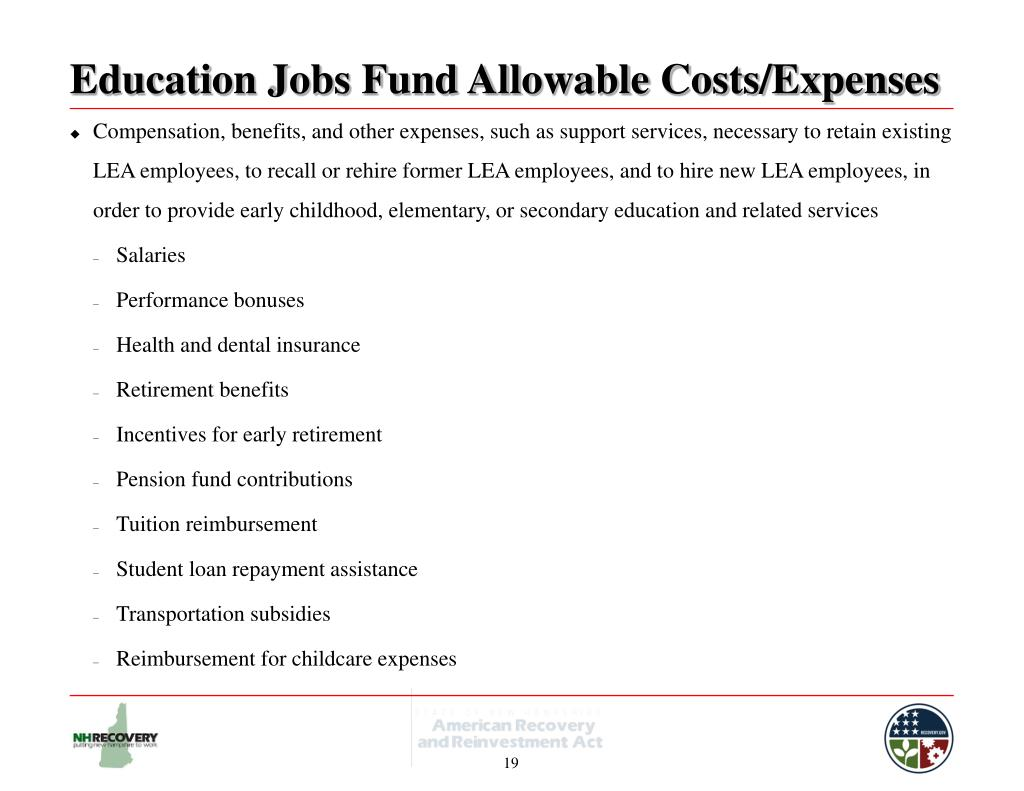 Education Jobs Fund Allowable Costs/Expenses
