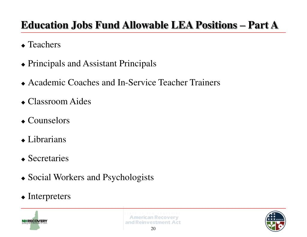 Education Jobs Fund Allowable LEA Positions – Part A