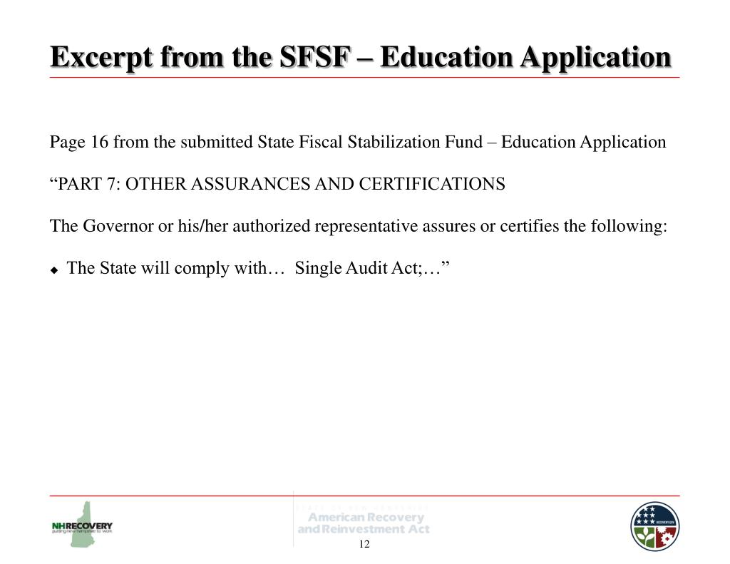 Excerpt from the SFSF – Education Application