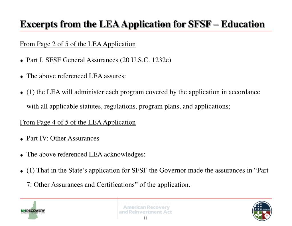 Excerpts from the LEA Application for SFSF – Education