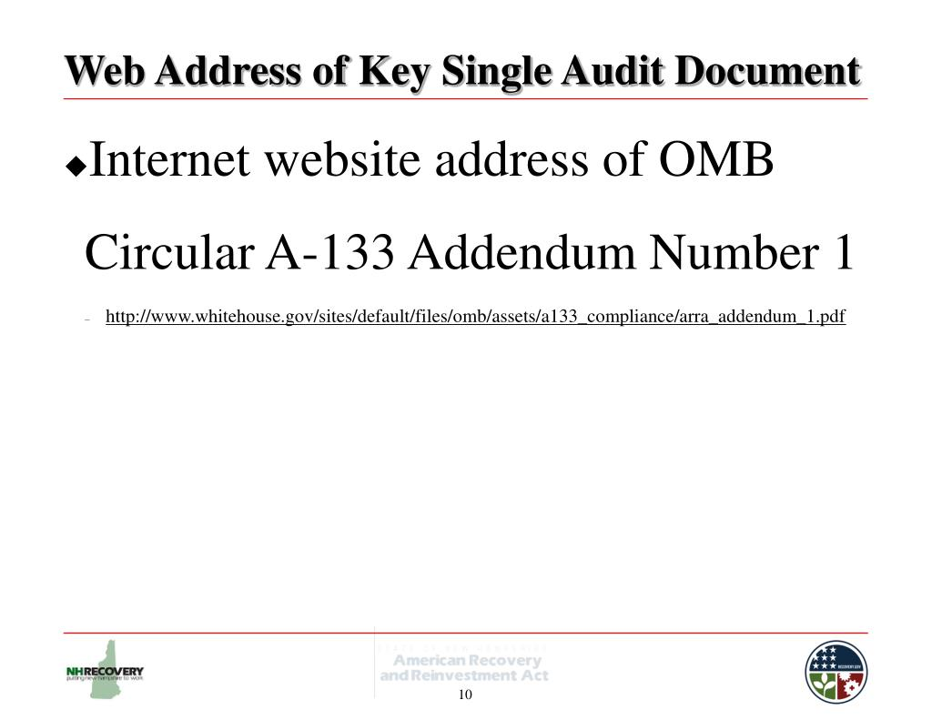 Web Address of Key Single Audit Document