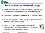 lessons learned in method usage