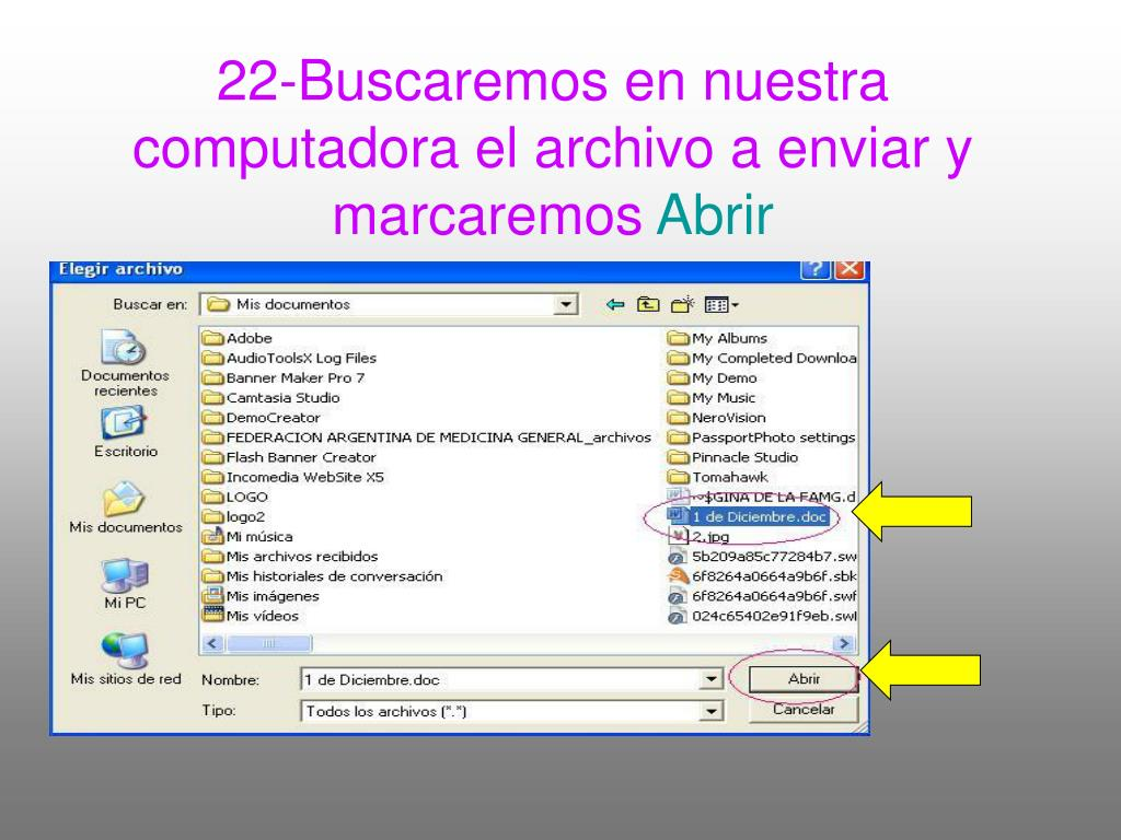 22-Buscaremos en nuestra computadora el archivo a enviar y marcaremos