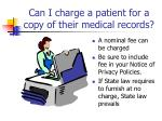 can i charge a patient for a copy of their medical records