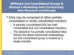 affiliated and consolidated groups arizona s marketing arm contracting arm structure continued29