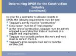 determining dpgr for the construction industry continued