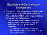 establish and communicate expectations