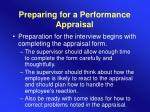 preparing for a performance appraisal
