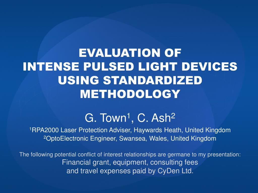 evaluation of intense pulsed light devices using standardized m ethodology l.