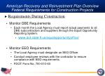 american recovery and reinvestment plan overview federal requirements for construction projects25