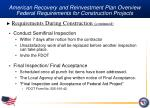 american recovery and reinvestment plan overview federal requirements for construction projects28