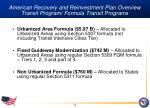 american recovery and reinvestment plan overview transit program formula transit programs