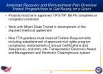 american recovery and reinvestment plan overview transit program how to get ready for a grant