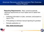 american recovery and reinvestment plan overview transit program